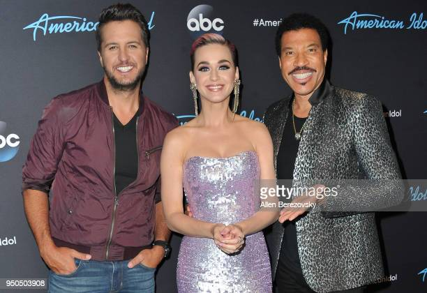 Judges Luke Bryan Katy Perry and Lionel Richie arrive at ABC's 'American Idol' show on April 23 2018 in Los Angeles California