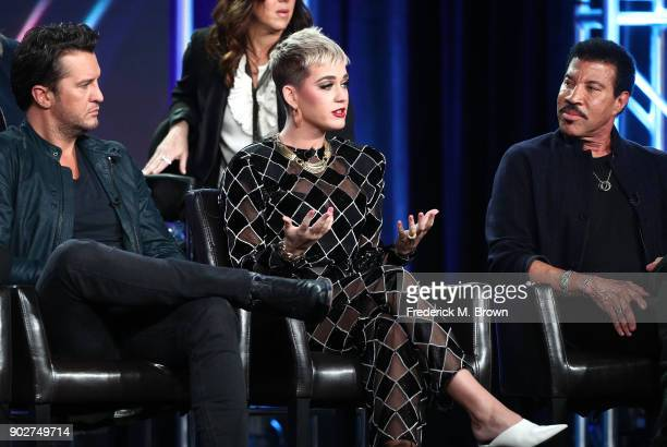 Judges Luke Bryan Katy Perry and Lionel Richie of the television show American Idol speak onstage during the ABC Television/Disney portion of the...