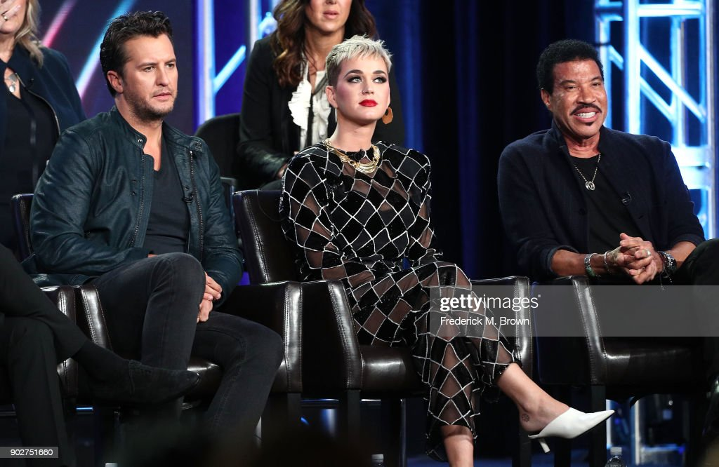 Judges Luke Bryan, Katy Perry and Lionel Richie of the television show American Idol speak onstage during the ABC Television/Disney portion of the 2018 Winter Television Critics Association Press Tour at The Langham Huntington, Pasadena on January 8, 2018 in Pasadena, California.