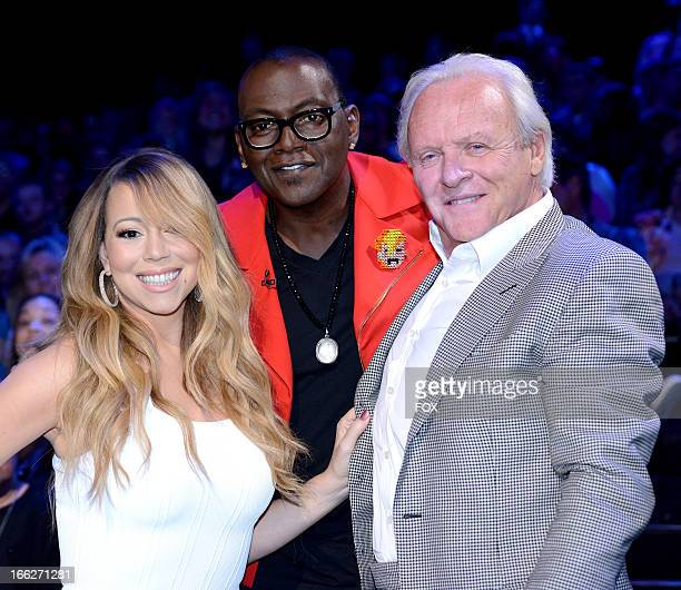 Judges Mariah Carey and Randy Jackson and actor Anthony Hopkins at FOX's 'American Idol' Season 12 Top 6 Live Performance Show on April 10 2013 in...