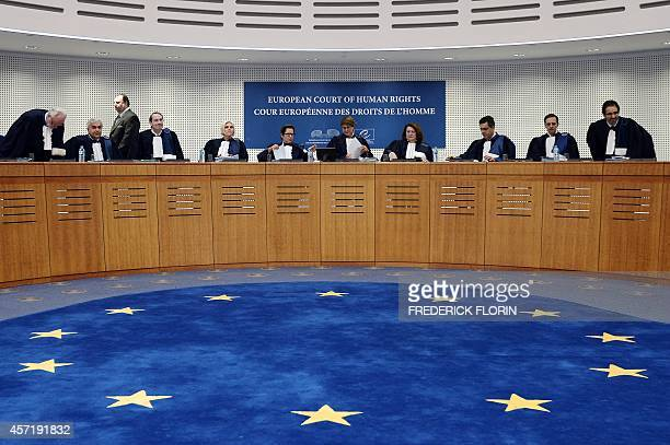 Judges of the European Court of Human Rights get ready to take part in a hearing concerning the terrorist attack on a school in Beslan North Ossetia...