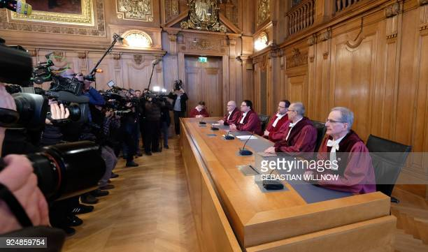Judges of the Federal Administrative Court in Leipzig eastern Germany are in the focus of journalists as the have taken seat for the pronouncement of...