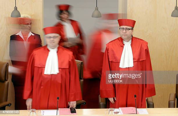 Judges of the Second Senate of the Federal Constitutional Court of Germany Peter Huber Sibylle KessalWulf and Andreas Vosskuhle arrive for the...