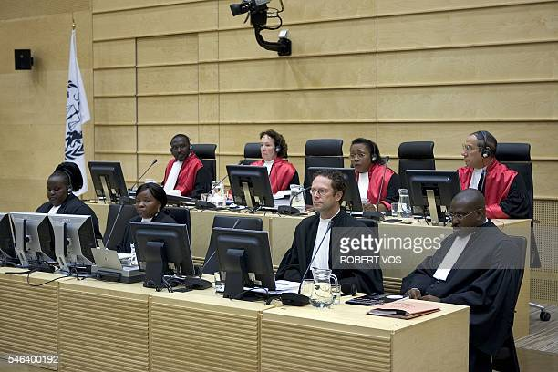 Judges of the War Crimes Court El Hadji Malick Teresa Doherty Julia Sebutinde and Richard Lussick take place for the start of former Liberian...