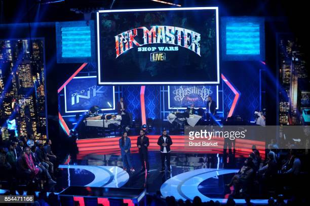 Judges Oliver Peck Dave Navarro and Chris Nunez are seen on stage during the Ink Master Season 9 LIVE Finale at The Manhattan Center on September 26...