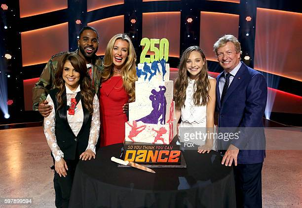 Judges Paula Abdul Jason Derulo host Cat Deeley judge Maddy Ziegler and Executive Producer and Judge Nigel Lythgoe celebrate the 250th episode of SO...