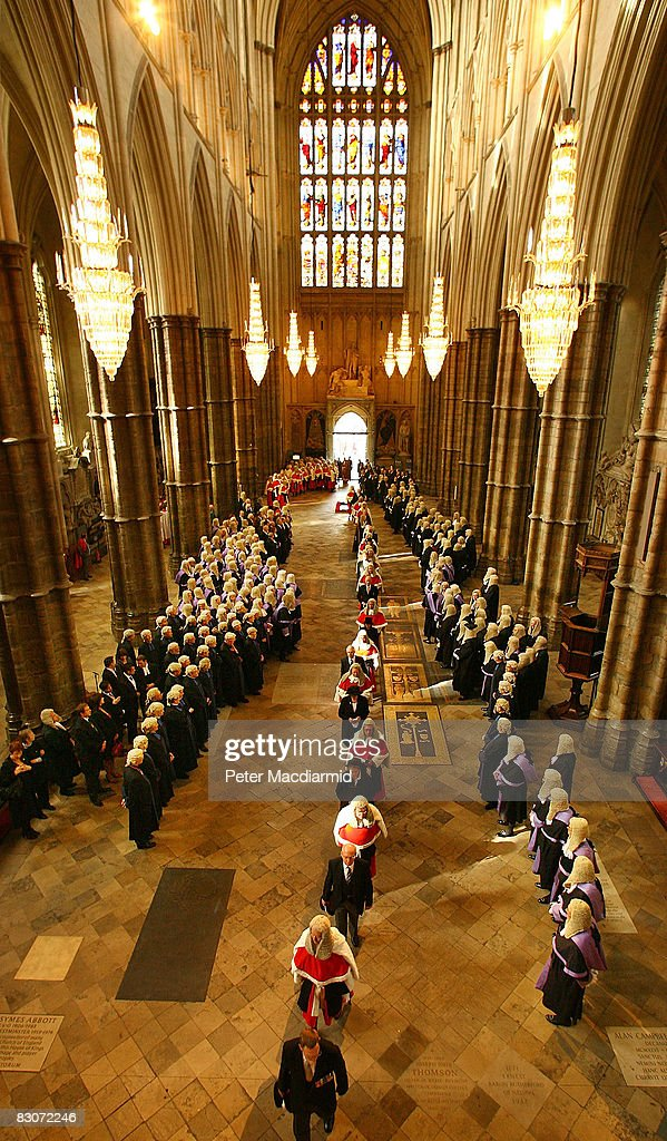 Judges process in Westminster Abbey on October 1, 2008 in London. The start of the legal year is marked with a traditional religious service in The Abbey. The judges arrive from the Royal Courts of Justice for the service followed by a procession to The Houses of Parliament where the Lord Chancellor hosts a reception. The ceremony in Westminster Abbey has roots in the religious practice of the judges praying for guidance at the start of the legal year. The custom dates back to the Middle Ages when the High Court was held in Westminster Hall.