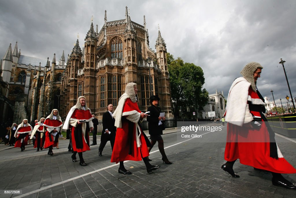 Judges process towards the House of Commons from the Westminster Abbey service on October 1, 2008 in London, England. The start of the legal year is marked with a traditional religious service in The Abbey. The judges arrive from the Royal Courts of Justice for the service followed by a procession to The Houses of Parliament where the Lord Chancellor hosts a reception. The ceremony in Westminster Abbey has roots in the religious practice of the judges praying for guidance at the start of the legal year. The custom dates back to the Middle Ages when the High Court was held in Westminster Hall.