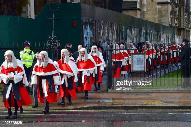 Judges, QCs and senior legal figures leave Westminster Abbey for the Houses of Parliament after attending the annual service to mark the start of the...