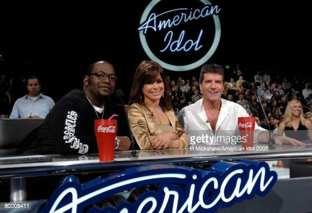 ACCESS*** Judges Randy Jackson Paula Abdul and Simon Cowell are seen live on American Idol March 11 2008 in Los Angeles California The top 12...