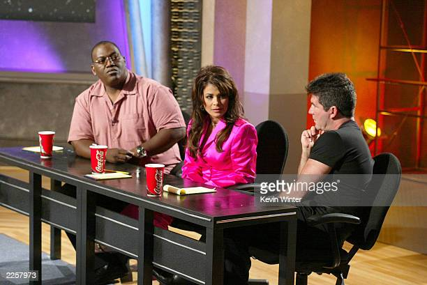 Judges Randy Jackson Paula Abdul and Simon Cowell at the live broadcast of FOXTV's American Idol in Los Angeles Ca Wednesday June 19 2002 Photo by...