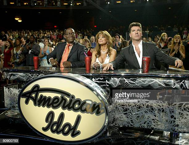 Judges Randy Jackson Paula Abdul and Simon Cowell sit in front of stage at the American Idol Season Three Grand Finale at the Kodak Theatre May 26...