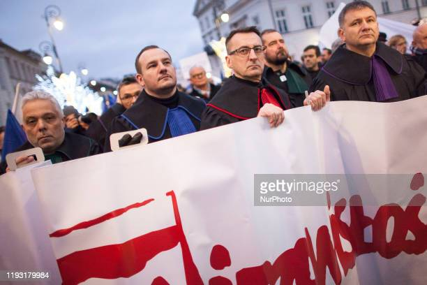 Judges seen at massive protest against judicial system reforms called Thousand Togas March in Warsaw on 11 January, 2019.