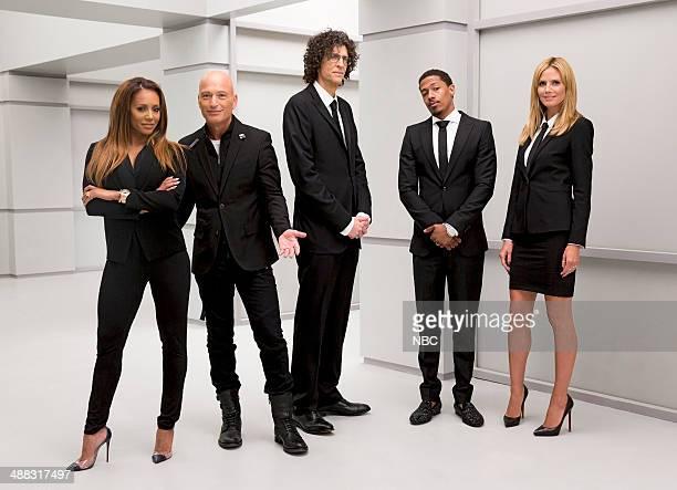 S GOT TALENT Judges Setup at Stage 41 Pictured Melanie Brown Howie Mandel Howard Stern Nick Cannon Heidi Klum