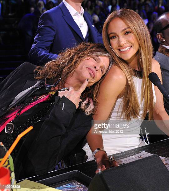 """Judges Steven Tyler and Jennifer Lopez at FOX's """"American Idol"""" Season 11 Top 13 Live Performance Show on March 7, 2012 in Hollywood, California."""