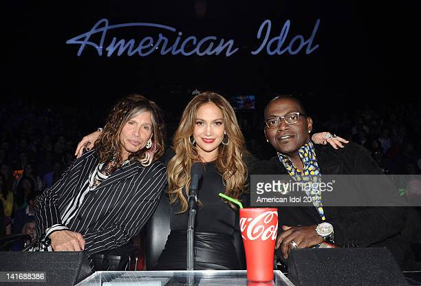 Judges Steven Tyler Jennifer Lopez and Randy Jackson at FOX's American Idol Season 11 Top 10 Live Performance Show on March 21 2012 in Hollywood...