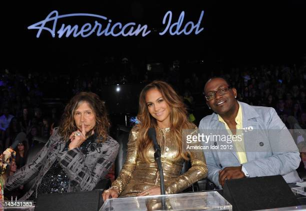 Judges Steven Tyler Jennifer Lopez and Randy Jackson at FOX's 'American Idol' Season 11 Top 6 Live Performance Show on April 25 2012 in Hollywood...