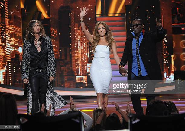 Judges Steven Tyler Jennifer Lopez and Randy Jackson onstage at FOX's American Idol Season 11 Top 12 Guys Live Performance Show on February 28 2012...