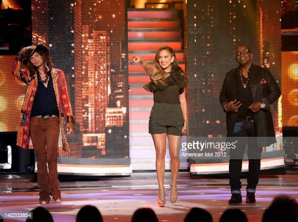 Judges Steven Tyler Jennifer Lopez and Randy Jackson onstage at FOX's American Idol Season 11 Top 12 Girls Live Performance Show on February 29 2012...