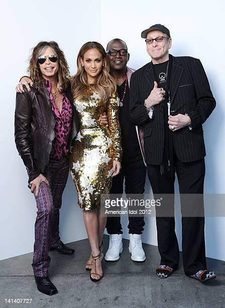 "Judges Steven Tyler, Jennifer Lopez, Randy Jackson and musician Rick Nielsen of 'Cheap Trick' backstage at FOX's ""American Idol"" Season 11 Top 12 To..."