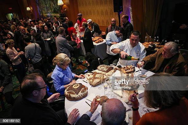 Judges taste baguettes and artisan breads during the Best Baguette in NYC competition in New York US on Thursday Jan 21 2016 Fourteen of the city's...