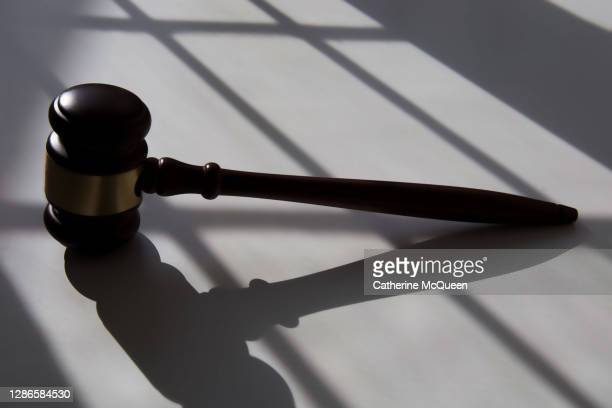 judge's traditional wooden gavel - 刑事司法 ストックフォトと画像