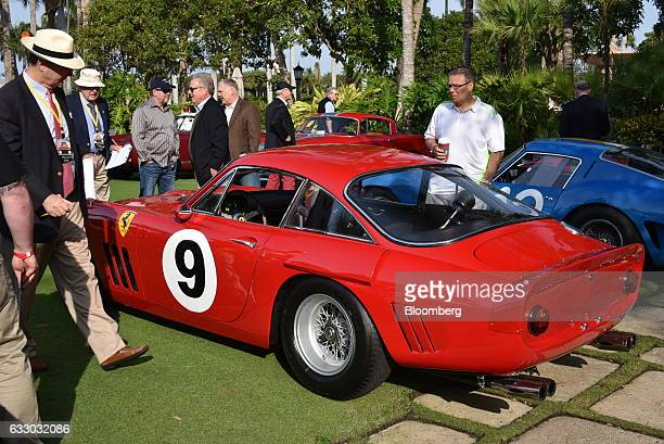 Judges view a 1963 Ferrari SpA 330 LMB race vehicle during the 26th Annual Cavallino Classic Event at the Breakers Hotel in Palm Beach, Florida,...