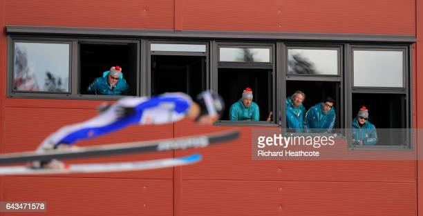 Judges watch a Nordic Combined athlete take part in Ski Jump training ahead of the FIS Nordic World Ski Championships on February 21, 2017 in Lahti,...