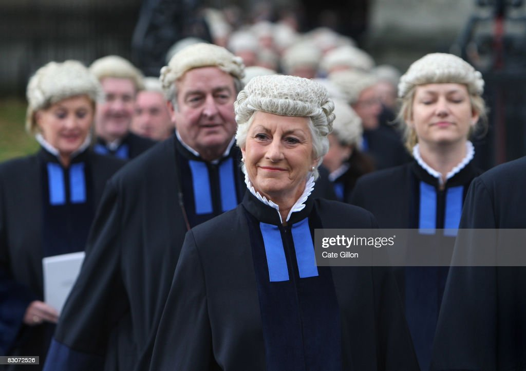 Judges wearing new robes process towards the House of Commons from Westminster Abbey on October 1, 2008 in London, England. The start of the legal year is marked with a traditional religious service in The Abbey. The judges arrive from the Royal Courts of Justice for the service followed by a procession to The Houses of Parliament where the Lord Chancellor hosts a reception. The ceremony in Westminster Abbey has roots in the religious practice of the judges praying for guidance at the start of the legal year. The custom dates back to the Middle Ages when the High Court was held in Westminster Hall.