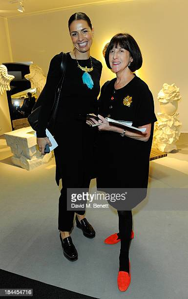 Judges Yana Peel and Janice Blackburn attend the Moet Hennessy London Prize Jury Visit during the PAD London Art Design Fair at Berkeley Square...