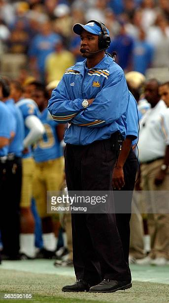 Judging by his expression it's a hard day at the office for UCLA head coach Karl Dorrell against Oregon Saturday afternoon at the Rose Bowl in...