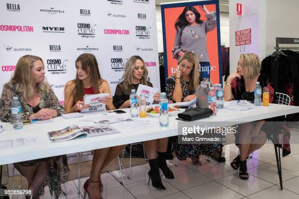 Judging panel Chelsea Bonner Robyn Lawley Keshnee Kemp Clare Hurley and Bec Gardiner at the Cosmo Curve on March 16 2018 in Brisbane Australia