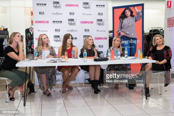 Judging panel Skye Bonner Chelsea Bonner Robyn Lawley Keshnee Kemp Clare Hurley and Bec Gardiner at the Cosmo Curve on March 16 2018 in Brisbane...