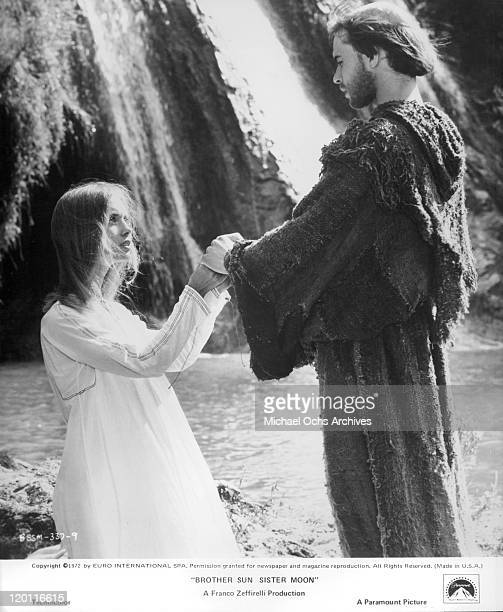 Judi Bowker joins hands with Graham Faulkner in a scene from the film 'Brother Sun and Sister Moon' 1972