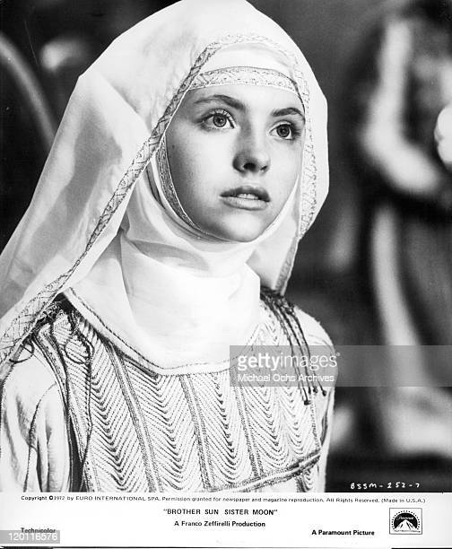 Judi Bowker looking forward in costume in a scene from the film 'Brother Sun and Sister Moon' 1972