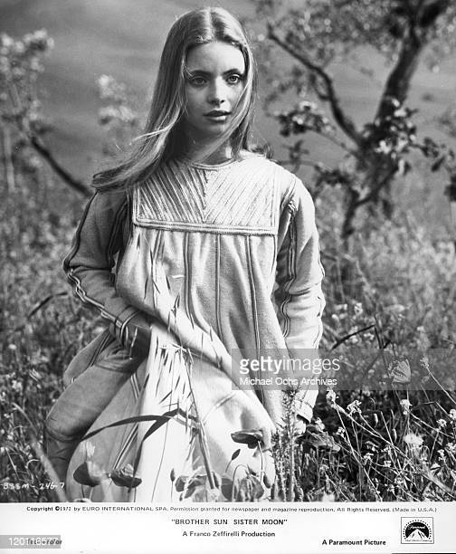 Judi Bowker walks through a field in a scene from the film 'Brother Sun and Sister Moon' 1972