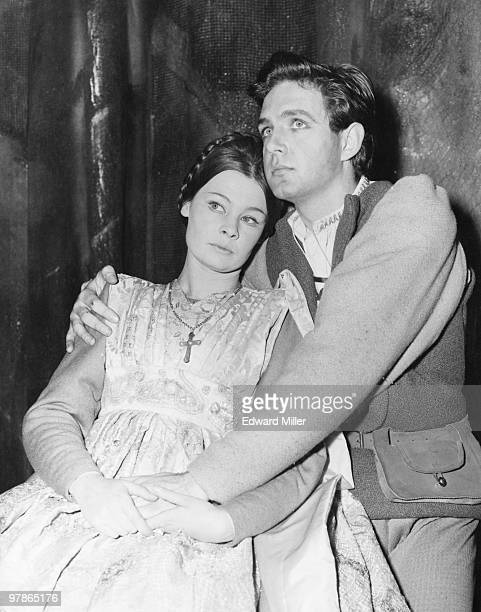 Judi Dench as Juliet and John Stride as Romeo in a rehearsal of Shakespeare's 'Romeo And Juliet' at the Old Vic London 30th September 1960