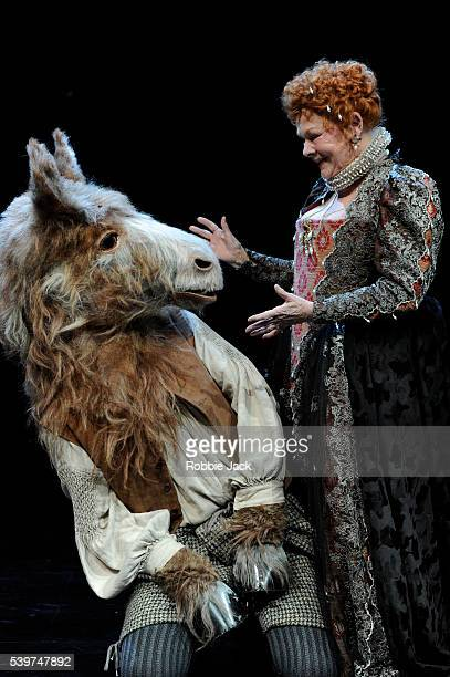 Judi Dench as Titania and Oliver Chris as Bottom in William Shakespeare's 'A Midsummer Night's Dream' directed by Peter Hall at the Rose Theatre...