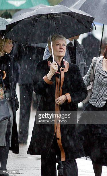 Judi Dench attends the funeral of actor John Mills at St Mary's Church in Denham Buckinghamshire