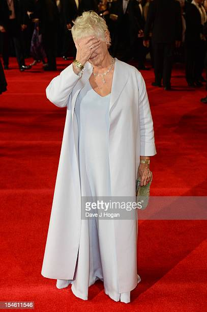 Judi Dench attends the Royal world premiere of 'Skyfall' at The Royal Albert Hall on October 23 2012 in London England