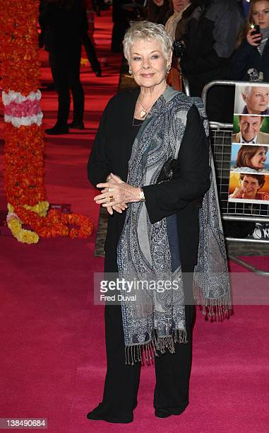Judi Dench attends the world premiere of 'The Best Exotic Marigold Hotel' at The Curzon Mayfair on February 7, 2012 in London, England.