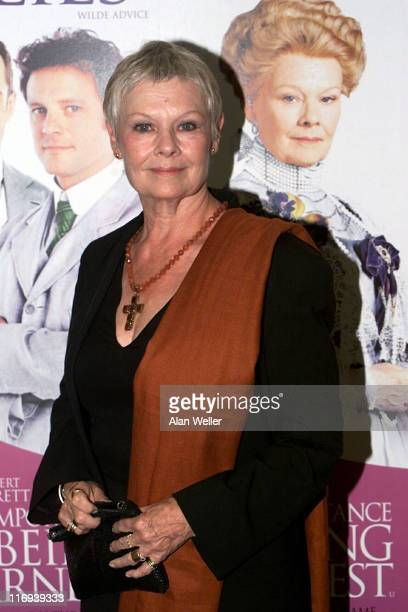 Judi Dench during UK Premiere of The Importance of Being Earnest at Odeon West End in London United Kingdom