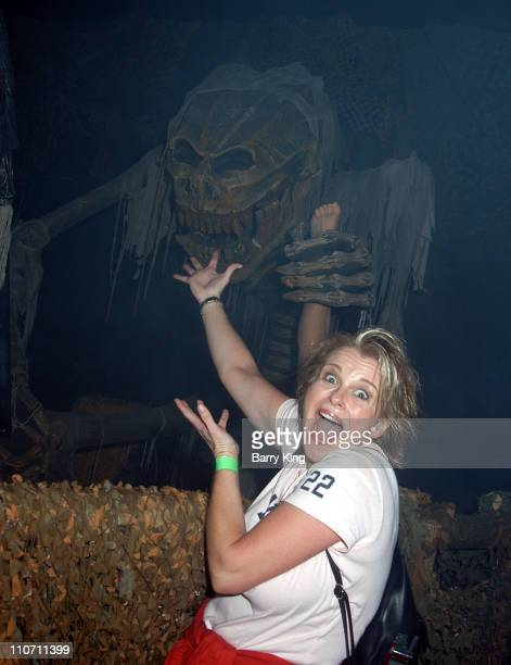 Judi Evans with Monster in The Swamp during Days Of Our Lives Stars Visit Knott's Berry Farms Halloween Haunt at Knott's Berry Farm in Buena Park...
