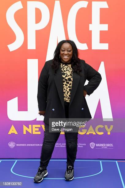 """Judi Love attends a special screening of """"SPACE JAM: A NEW LEGACY"""" in cinemas 16th July at Cineworld Leicester Square on July 11, 2021 in London,..."""