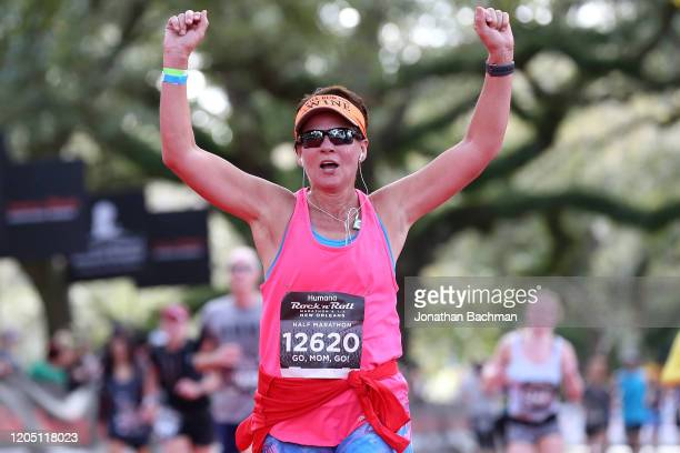 Judi Marshall reacts after finishing the Humana Rock 'n' Roll New Orleans 1/2 Marathon on February 09, 2020 in New Orleans, Louisiana.