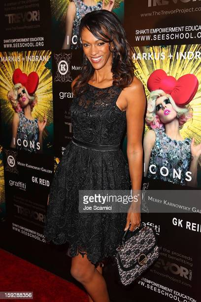 Judi Shekoni arrives at Markus Indrani Icons book launch party hosted by Carmen Electra benefiting The Trevor Project at Merry Karnowsky Gallery...