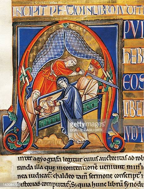 Judith beheading Holofernes miniature from the Bible of Souvigny Latin manuscript 1 folio 291 verso 12th Century
