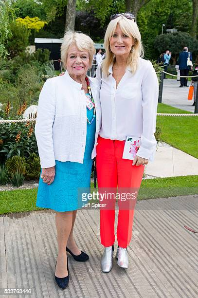Judith Chalmers and Gaby Roslin attend Chelsea Flower Show press day at Royal Hospital Chelsea on May 23 2016 in London England