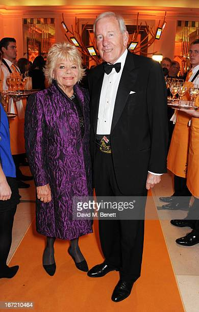 Judith Chalmers and Neil DurdenSmith attend the Veuve Clicquot Business Woman Award 2013 at Claridge's Hotel on April 22 2013 in London England
