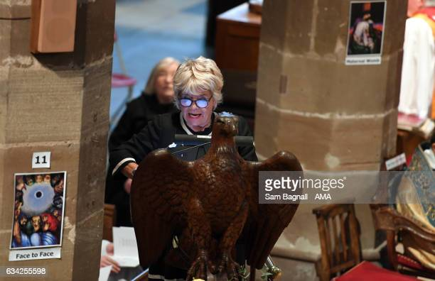 Judith Chalmers speaks at the service of thanks giving during the Funeral of Baroness Heyhoe Flint on February 8 2017 in Wolverhampton England